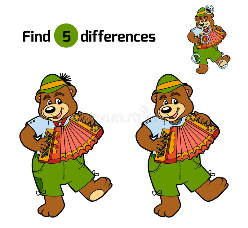 Find differences, game for children (bear and accordion). Find differences, education game for children (bear and accordion royalty free illustration