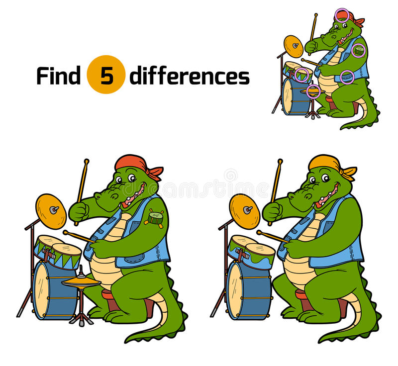 Find differences, game for children (crocodile and drum) vector illustration