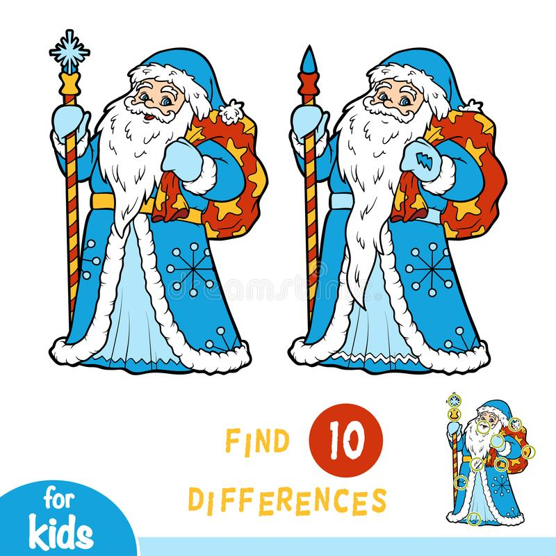 Find differences, game for children, Ded Moroz, Father Frost royalty free illustration