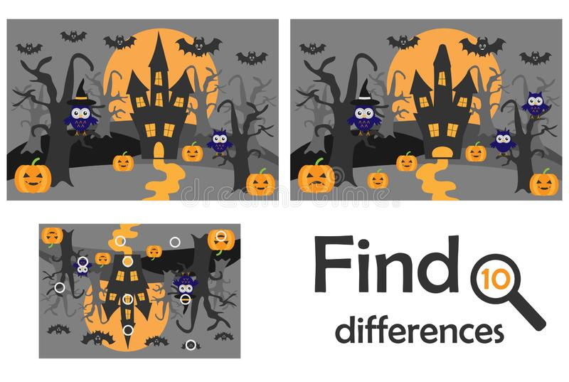 Find 10 differences, game for children, halloween in cartoon style, education game for kids, preschool worksheet activity, task fo vector illustration