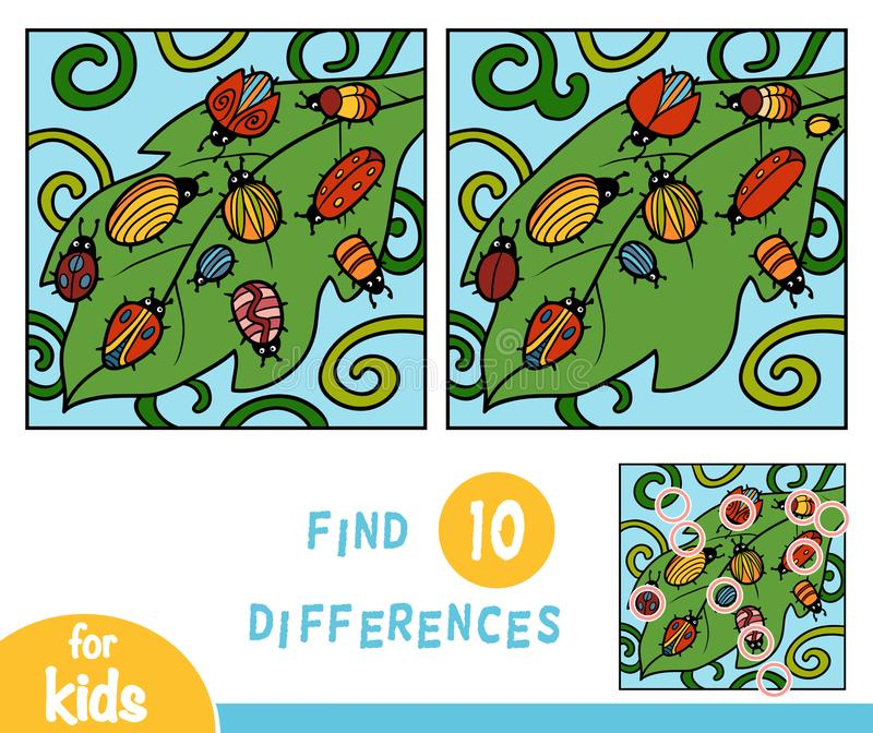 Find differences, game for children, Ten bugs stock illustration