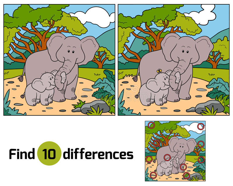 Find differences, game for children (two elephants) stock illustration