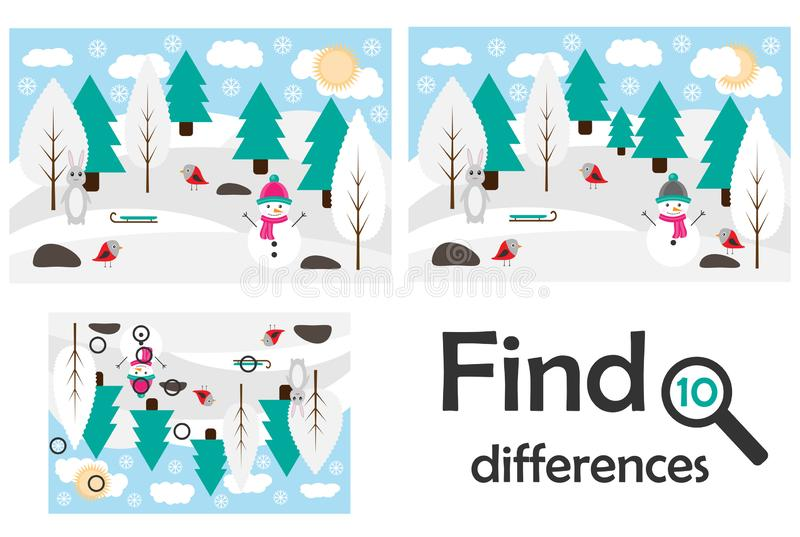 Find 10 differences, game for children, winter snowy forest in cartoon style, education game for kids, preschool worksheet vector illustration