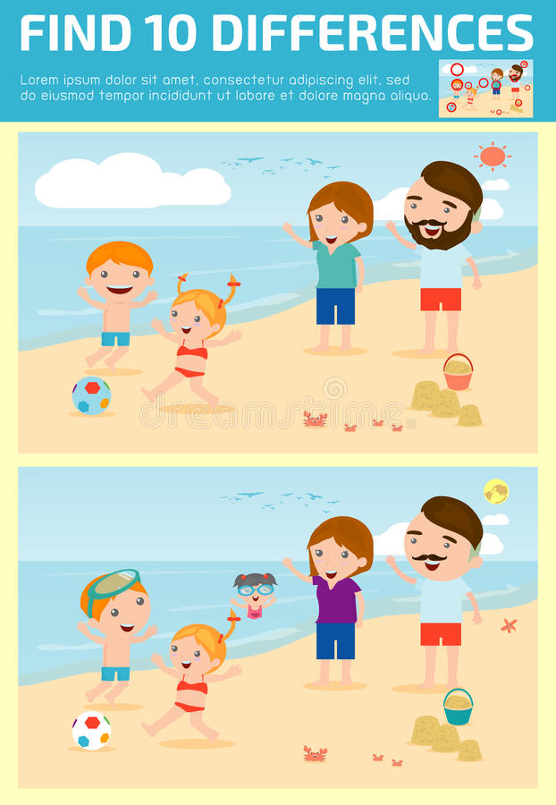 Find differences,Game for kids ,find differences,Brain games, children game, Educational Game for Preschool Children, Vector Illus. Tration, Family on the beach vector illustration