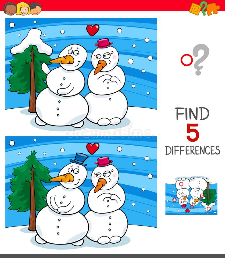 Find differences game with snowmen vector illustration
