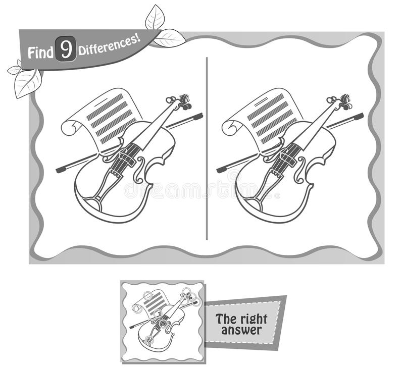 Download Find 9 Differences Game Violin Stock Illustration