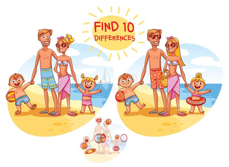 Find the 10 differences. Happy family on vacation vector illustration