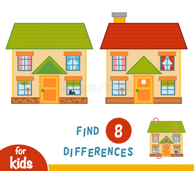 Find differences, House. Find differences, education game for children, House royalty free illustration