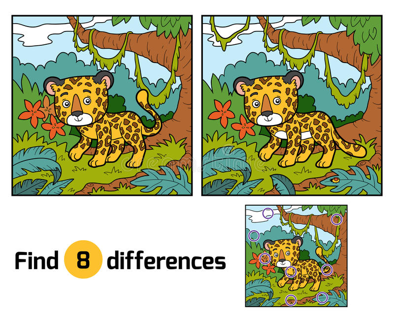 Find differences, Jaguar. Find differences education game for children, Jaguar stock illustration