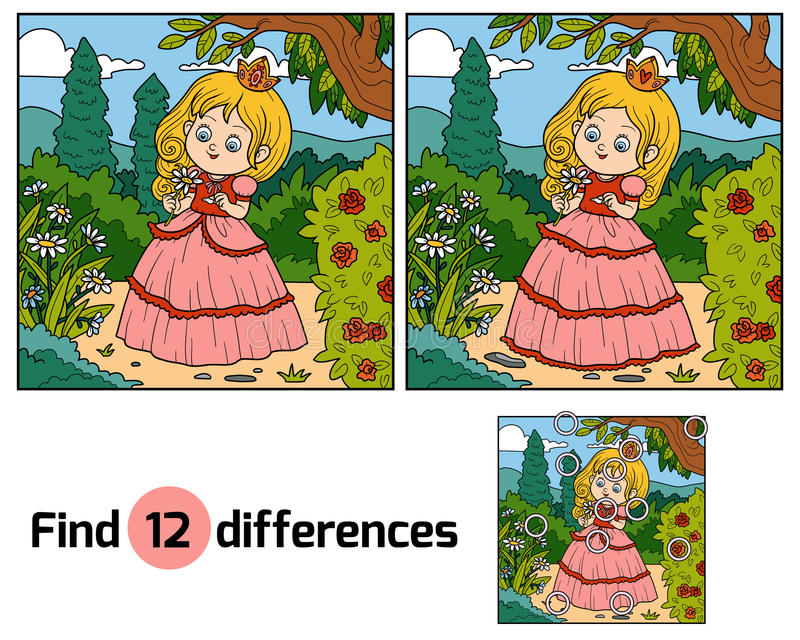 Find differences, little princess with a flower in garden. Find differences, education game for children, little princess with a flower in garden stock illustration