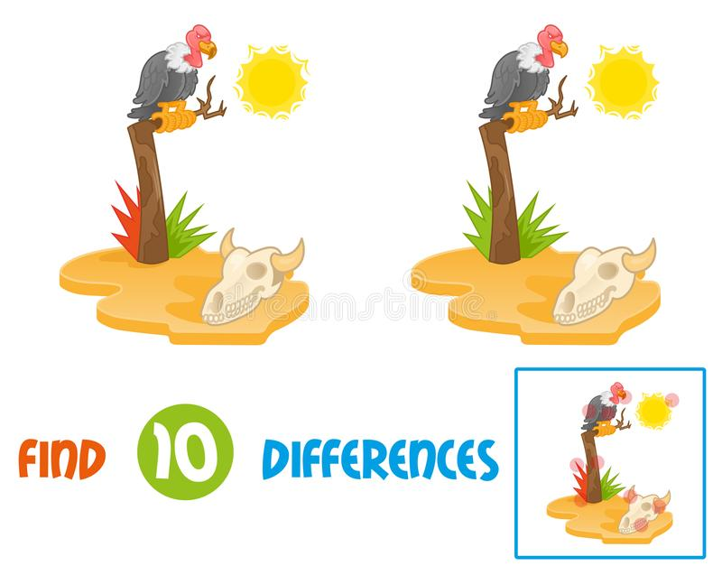 Vulture find 10 differences. Find differences logic education interactive game for children island with hot sun desert view with gold yellow sand dry old tree on royalty free illustration
