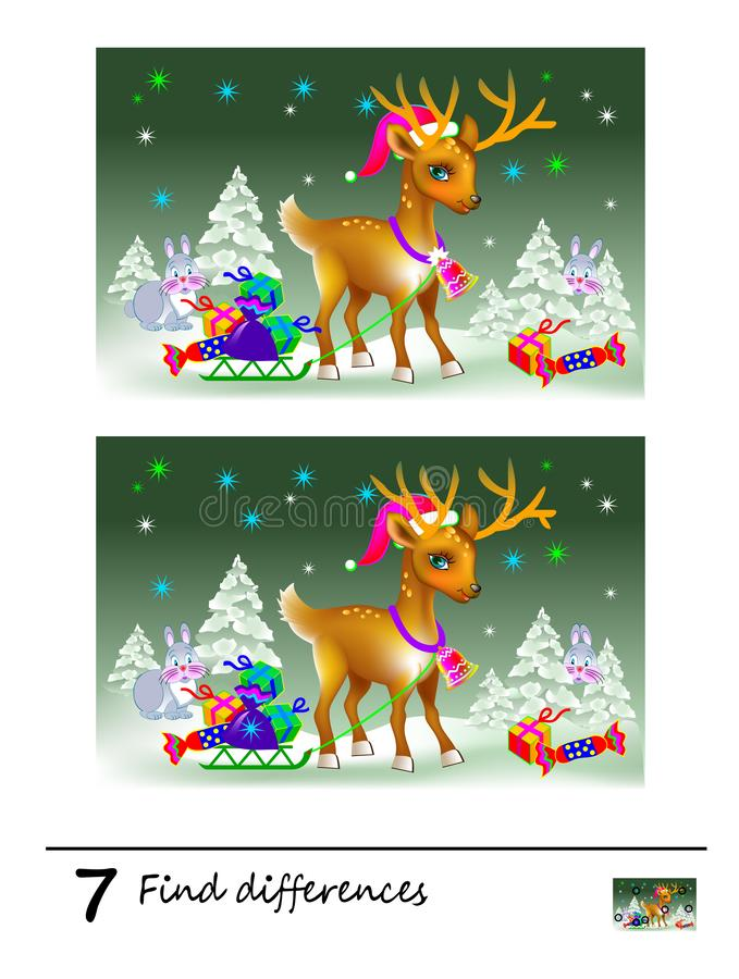 Find 7 differences. Logic puzzle game for children and adults. Printable page for kids brain teaser book. vector illustration
