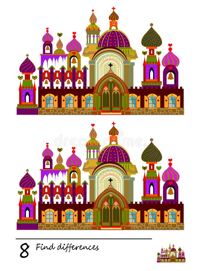 Find 8 differences. Logic puzzle game for children and adults. Printable page for kids brain teaser book. Image of fairy-tale castle. Developing counting vector illustration