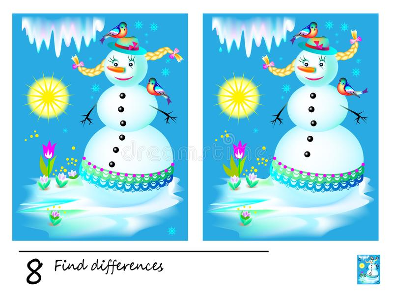 Find 8 differences. Logic puzzle game for children and adults. Printable page for kids brain teaser book. Image of fairy-tale snowman melting in spring stock illustration