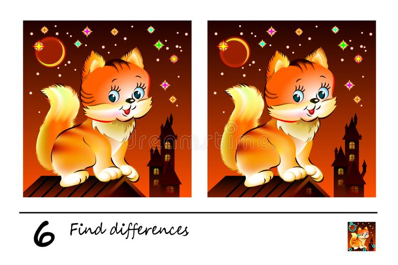 Find 6 differences. Logic puzzle game for children and adults. Printable page for kids brain teaser book at night. Image of cute kitten sitting on roof stock illustration