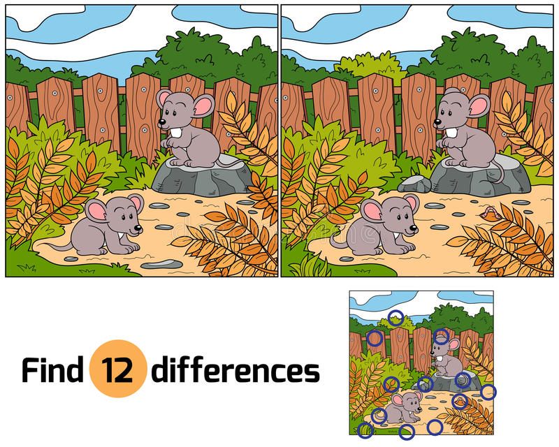 Find differences (mice). Game for children: Find differences (mice stock illustration