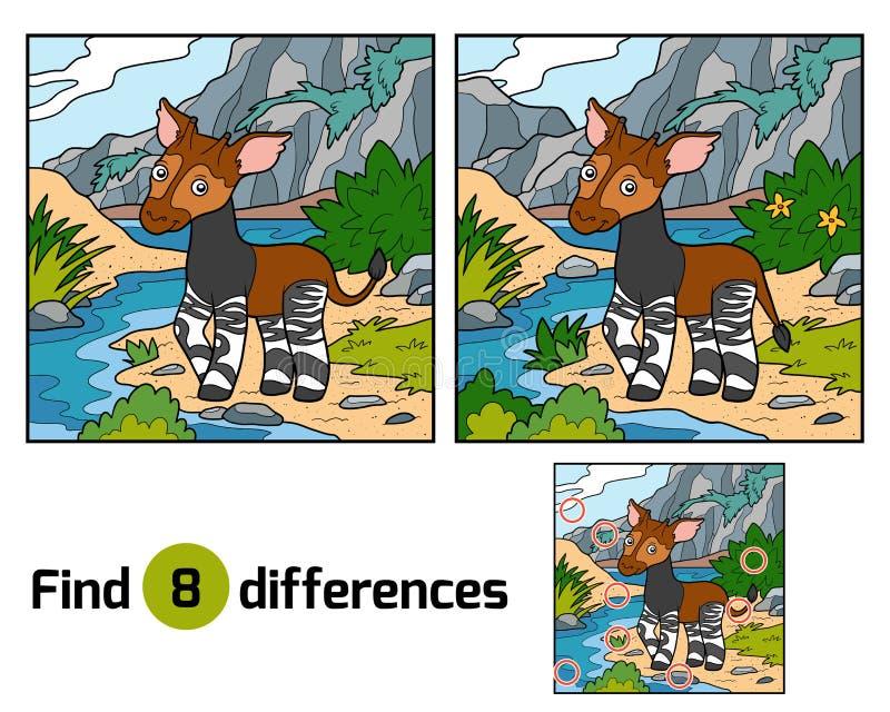 Find differences, Okapi. Find differences education game for children, Okapi stock illustration