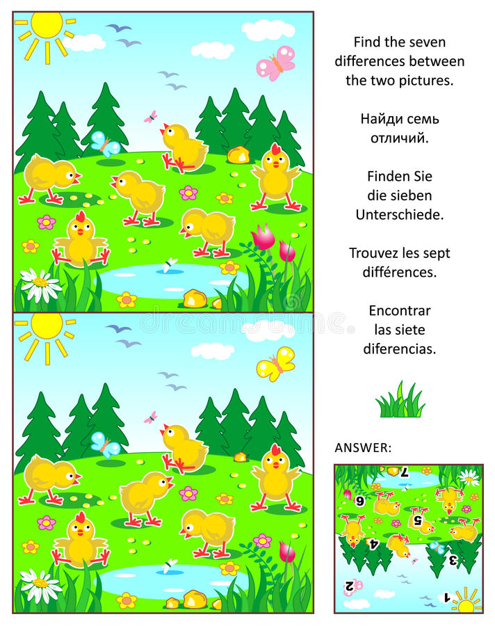 Find the differences picture puzzle with chicks. Spring, Easter or summer visual puzzle: Find the seven differences between the two pictures with happy playful royalty free illustration