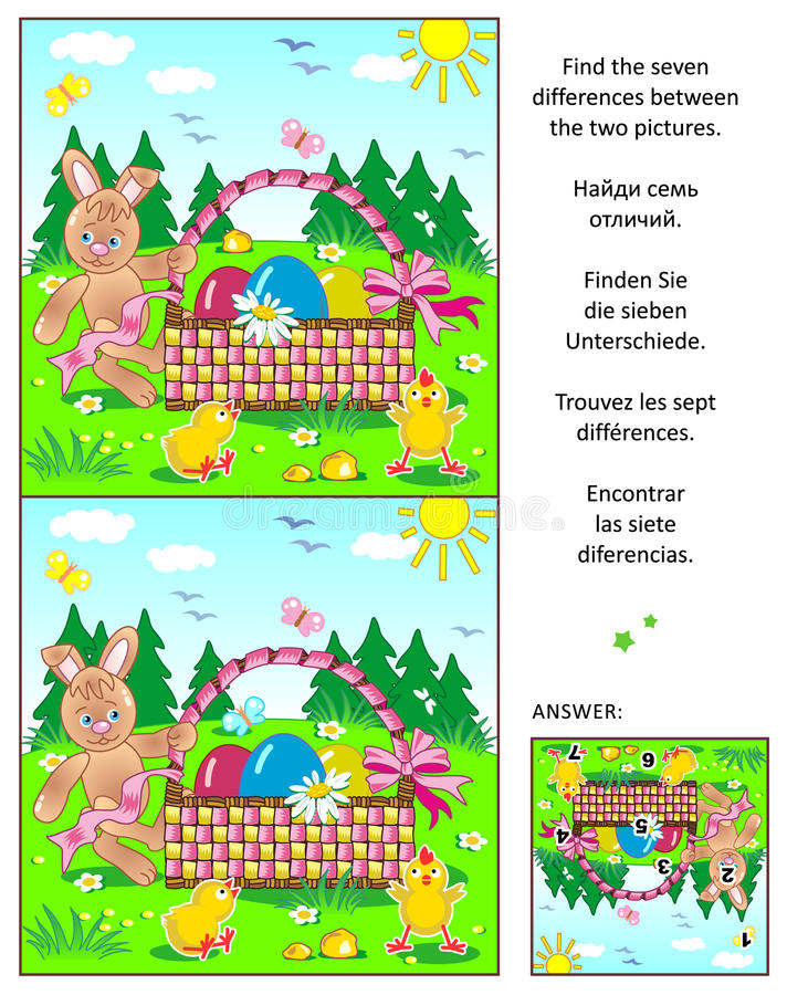 Find the differences picture puzzle with Easter bunny, eggs, chicks and basket. Easter themed visual puzzle: Find the seven differences between the two pictures stock illustration