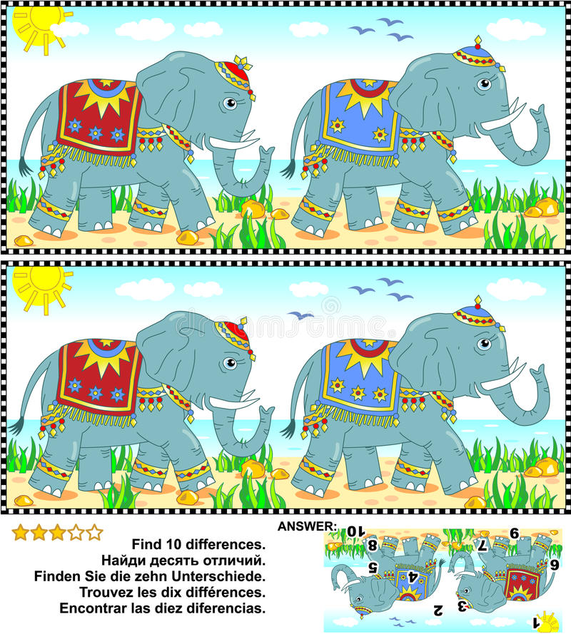 Find the differences picture puzzle - elephants vector illustration