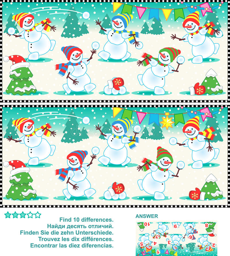 Find the differences picture puzzle - playful snowmen. Christmas or New Year visual puzzle: Find the ten differences between the two pictures - happy playful royalty free illustration