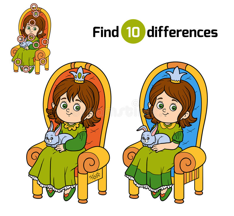 Find differences, princess seated on a throne. Find differences, education game for children, young princess seated on a throne with the bunny in hands vector illustration