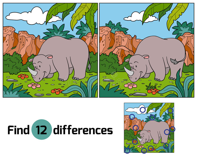 Find differences (rhino). Find differences game for children (rhino royalty free illustration