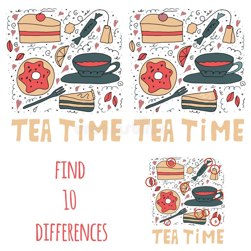 Find 10 differences. Set of sweet stuffs. Cakes, donuts, tea and sweets. stock illustration