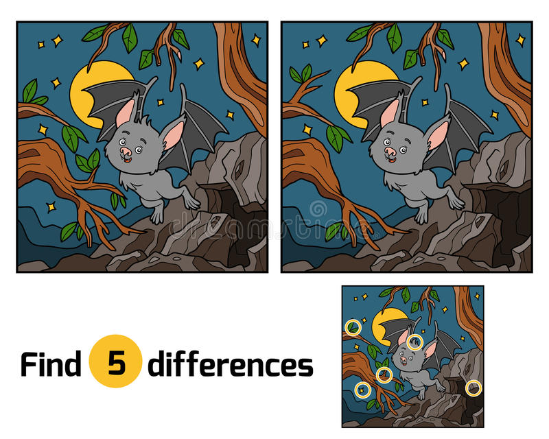 Find the differences, Vampire bat and background. Find the differences, education game for children. Vampire bat and background stock illustration
