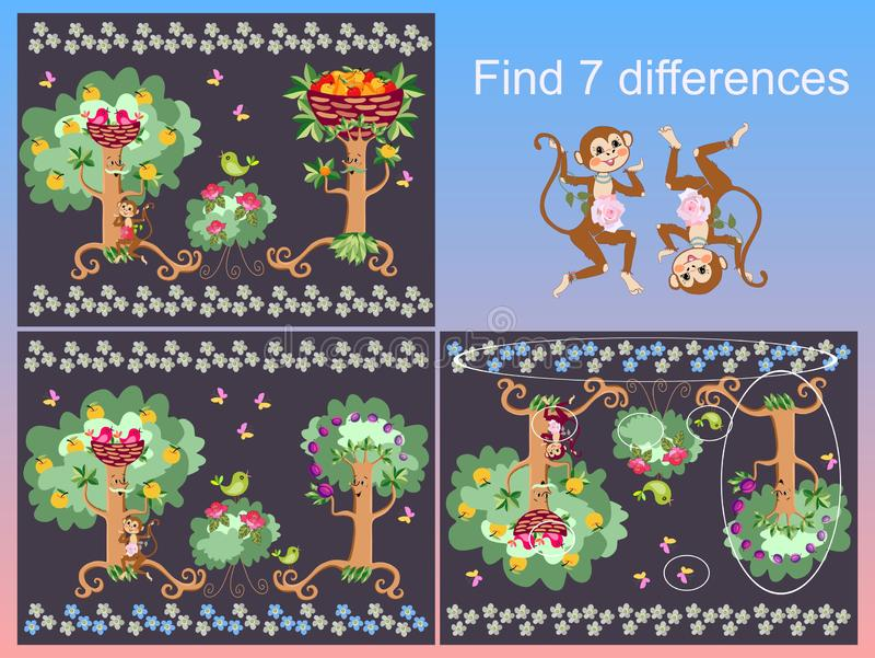 Find 7 differences. Visual game for children and adults with cheerful unusual characters. Funny monkeys and birds in lovely magic garden stock illustration
