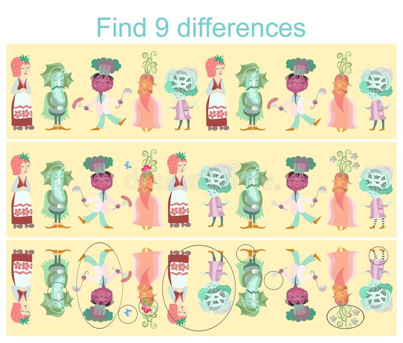 Find differences. Visual game for children and adults with cheerful unusual characters. Cute cartoon vegetables and berry - carrot, cucumber, beet, cabbage and royalty free illustration