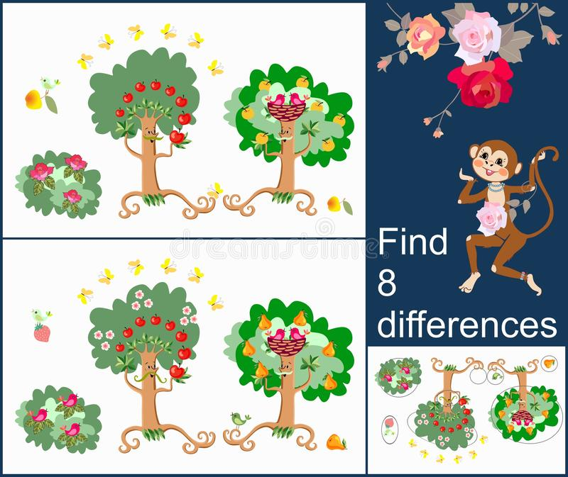Find 8 differences. Visual game for developing attention for children and adults with cheerful unusual characters. Fruits tree, birds and butterflies in lovely vector illustration