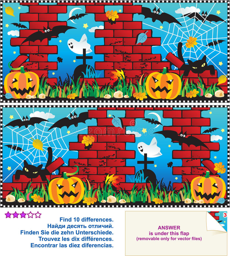 Download Find The Differences Visual Puzzle Stock Vector - Illustration of illustration, night: 21402525