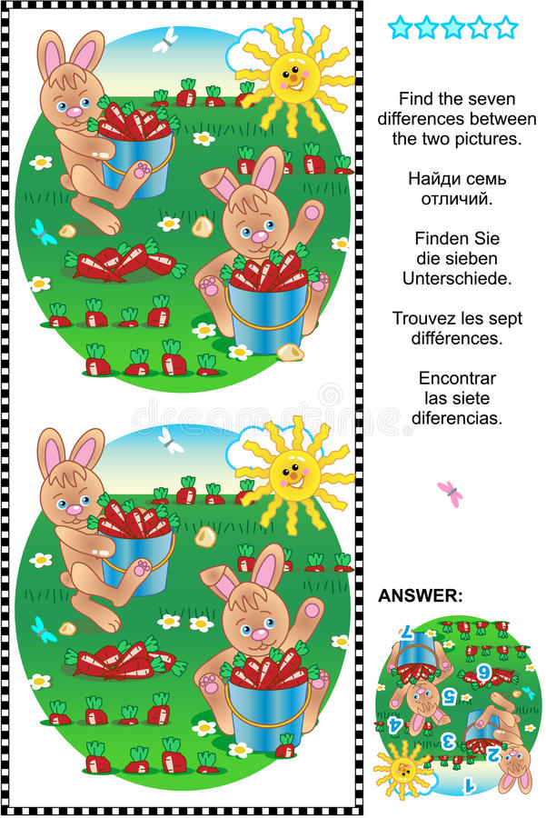 Find the differences visual puzzle - bunnies harvesting carrots. Picture puzzle: Find the seven differences between the two pictures of bunnies harvesting vector illustration