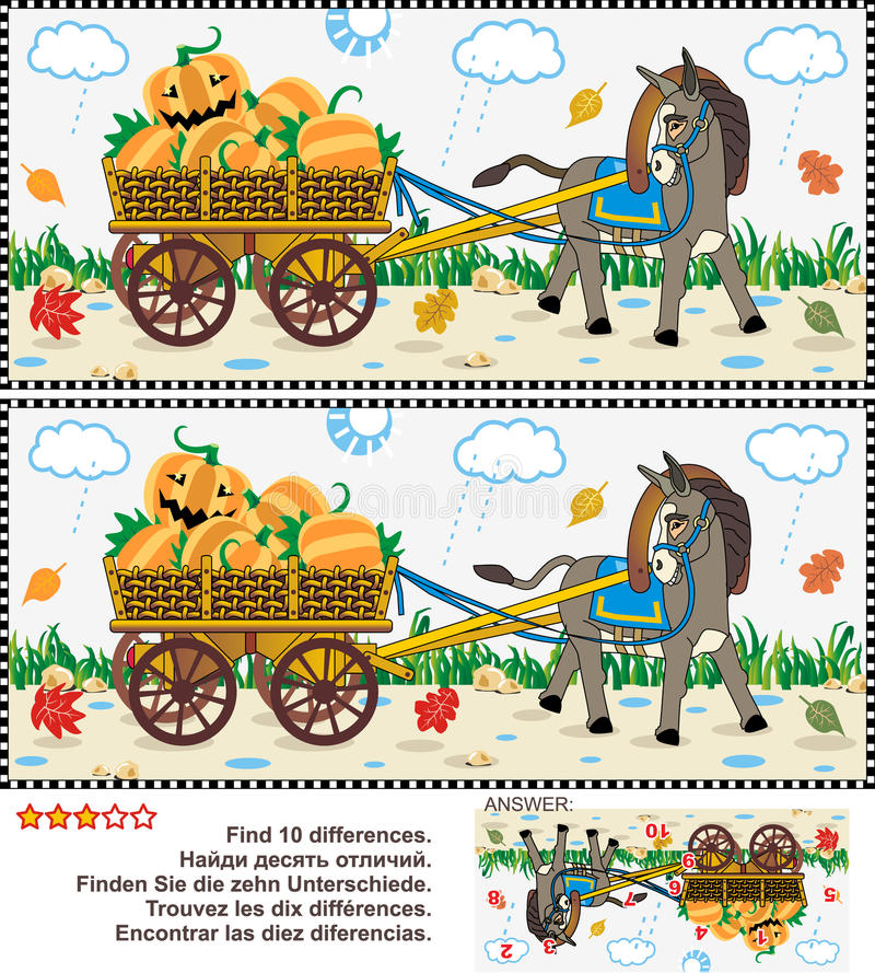 Find the differences visual puzzle - burro pulling cart with pumpkins. Halloween, autumn or harvest themed visual puzzle: Find the ten differences between the vector illustration