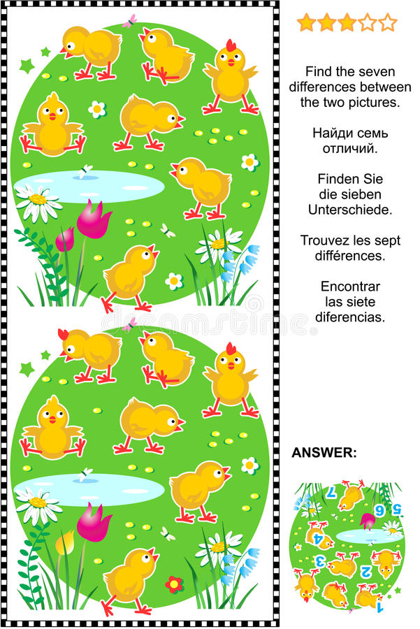 Find the differences visual puzzle - chicks. Picture puzzle: Find the seven differences between the two pictures of cute little chicks. Answer included stock illustration