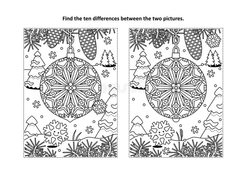 Find the differences visual puzzle and coloring page with christmas tree ornament stock illustration