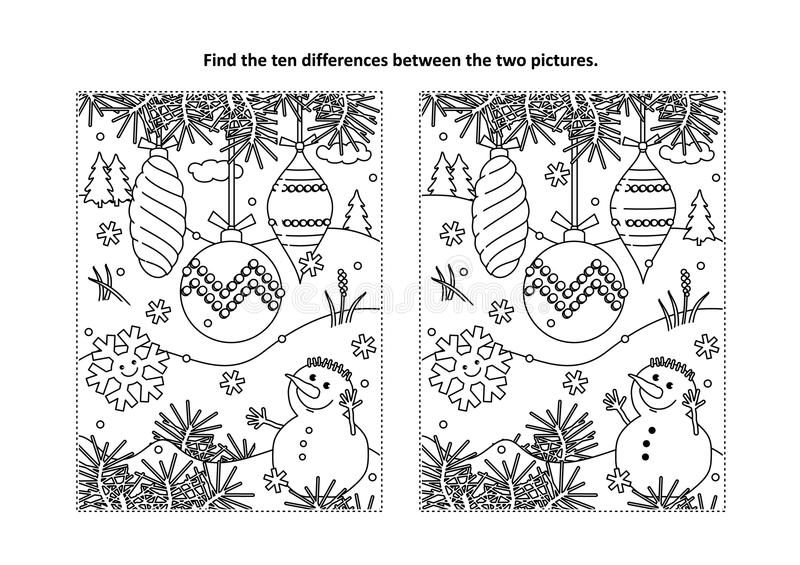 Find the differences visual puzzle and coloring page with christmas tree ornaments and snowman stock illustration