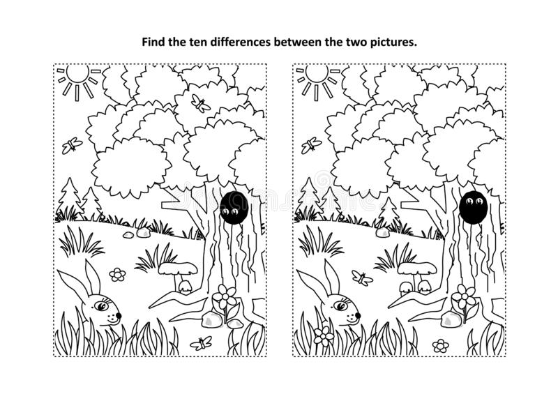 Find the differences visual puzzle and coloring page with nature scene vector illustration