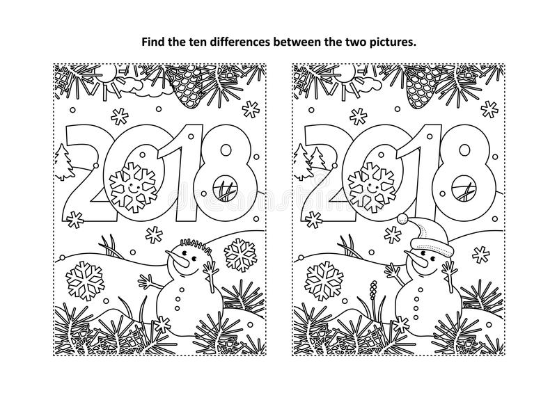 Find the differences visual puzzle and coloring page with New Year 2018 heading. New Year or Christmas themed find the ten differences picture puzzle and stock illustration