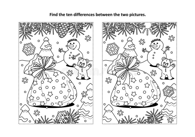 Find the differences visual puzzle and coloring page with Santa`s sack. Winter holidays themed find the ten differences picture puzzle and coloring page with vector illustration
