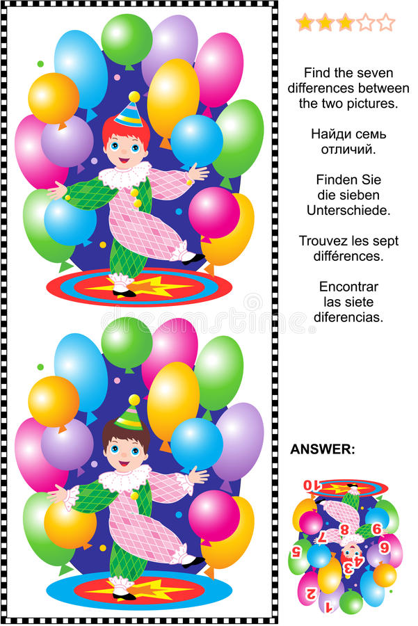 Find the differences visual puzzle - little circus clown stock illustration