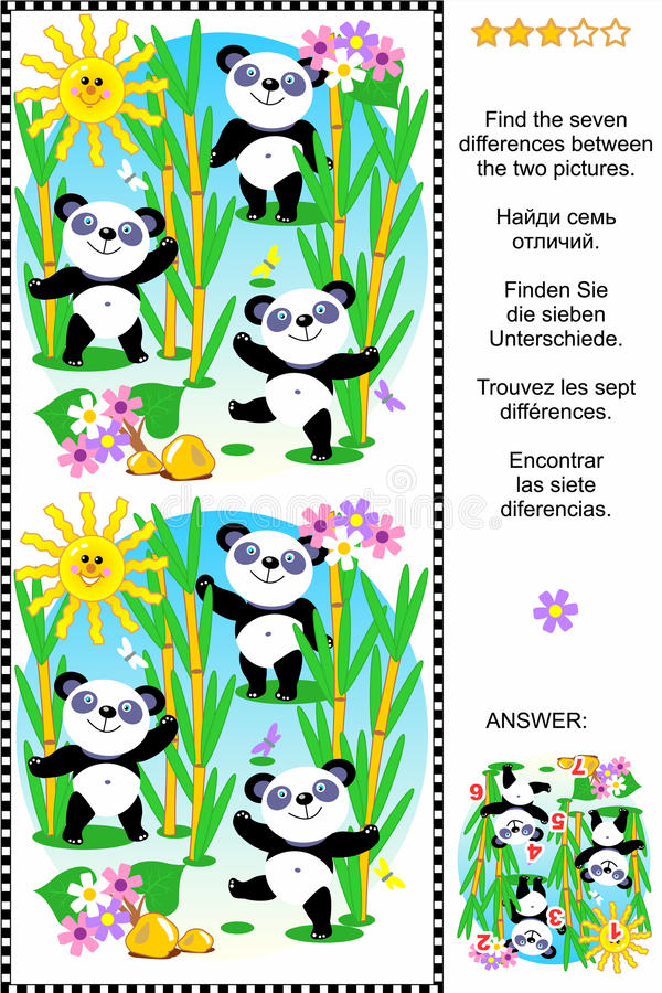 Find The Differences Visual Puzzle - Panda Bears Stock Vector