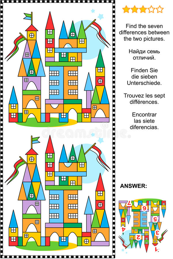 Find the differences visual puzzle - toy town stock illustration