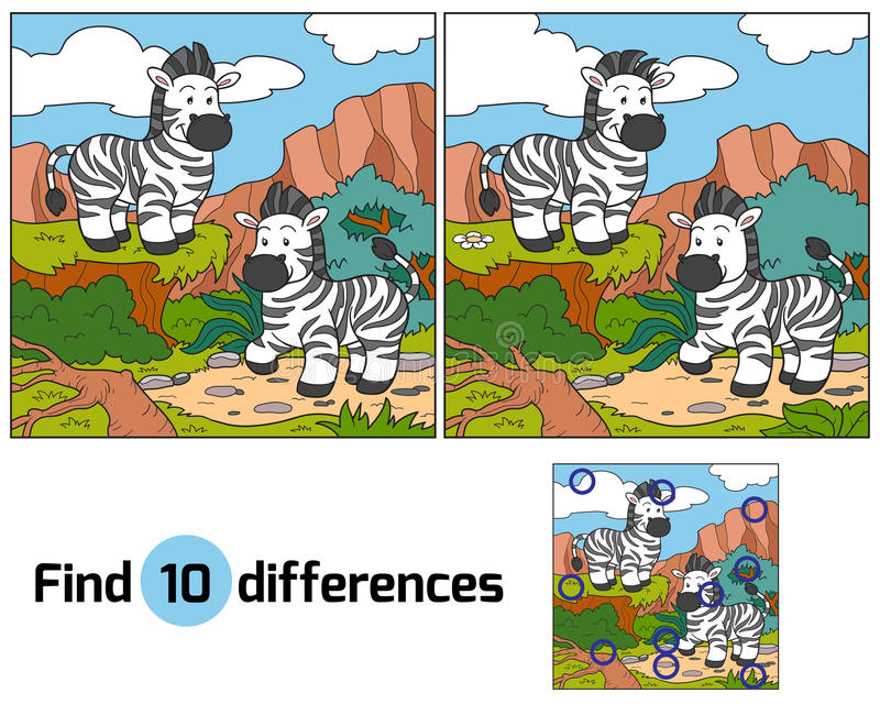 Find differences (zebra). Find differences game for children (zebra stock illustration