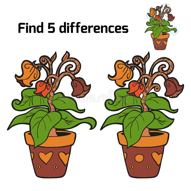 Find five differences (flowers) vector illustration