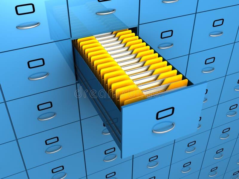 Find folder in archive drawer blue cabinet vector illustration