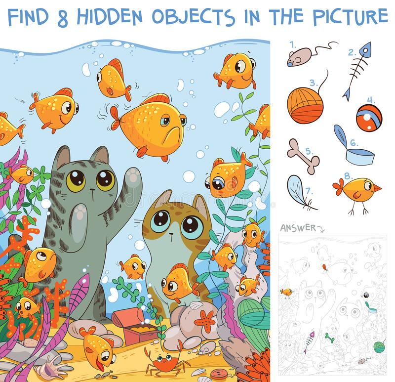 Free Find Hidden Objects. Cats Looking At Fish In An Aquarium Stock Photography - 188906362