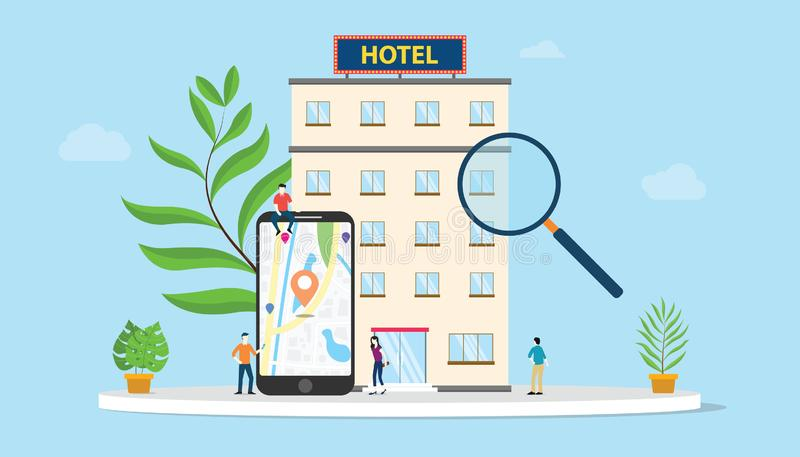Find hotel or search hotels concept with smartphone maps gps location and building with team people and modern flat style - vector royalty free illustration