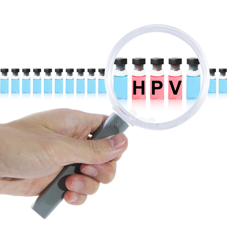 Find HPV vaccine. With magnifying glass. Isolated on white background royalty free stock images